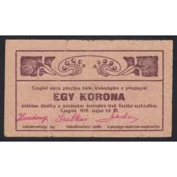 1 korona 1919 - Cegléd