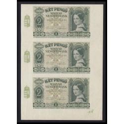 2 pengő 1940 - 3 darabos ívtöredék