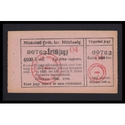4800 korona 1926 - Miskolc Orth. Izraelita Hitközség 1 liba
