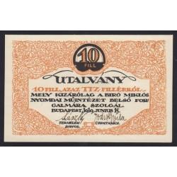 10 fillér 1919 - Biró Miklós nyomdai mûintézet