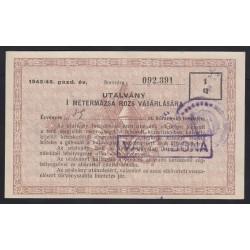 I métermázsa rozs vásárlási utalvány 1946