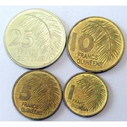 25-10-5-1 francs set 1985 - French-Guinea