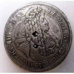 Lipót talllér 1690 KB - Korabeli hamis érvénytelenítéssel
