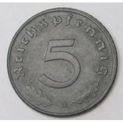 5 reichspfennig 1940 D