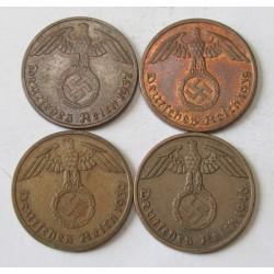 1 reichspfennig 1937-38-39-40 A set