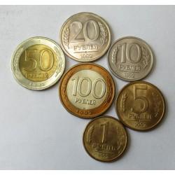 1-5-10-20-50-100 rubel 1992 set