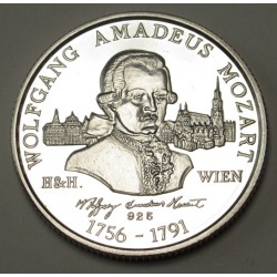 Silver commemorative coin for the 200th anniversary of Mozart's death PROOF