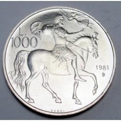1000 lire 1981 - The death of Vergilius