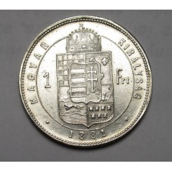 1 forint 1881 - Wide coat of arms