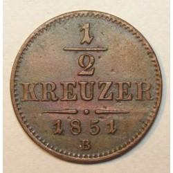 1/2 kreuzer 1851 B