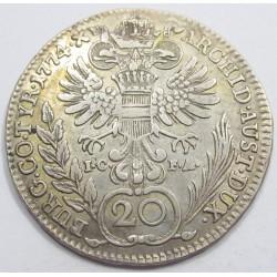 Maria Theresia 20 kreuzer 1774 I.C.F.A.