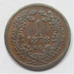 1 kreuzer 1878 - 2x2 acorn