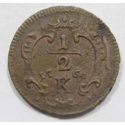 Francis I 1/2 kreuzer 1764 K