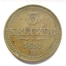 3 kreuzer 1851 B