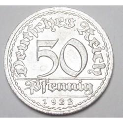 50 pfennig 1922 D