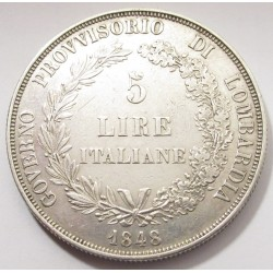 5 lire 1848 M - Lombard-Venetian Kingdom