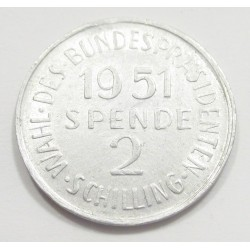 2 schilling 1951 - Supporting token issued for the election of Theodor Körner as president