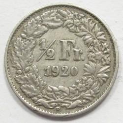 1/2 franc 1920B