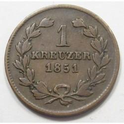 1 kreuzer 1851 - Baden
