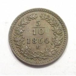 5/10 kreuzer 1864 B
