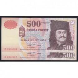 500 forint 1998 EA - Alacsony sorszámú sorszámkövetõ