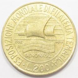 200 lire 1992 - Genoa Philatelic Exhibition