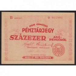 100.000 adópengő 1946 - pénztárjegy
