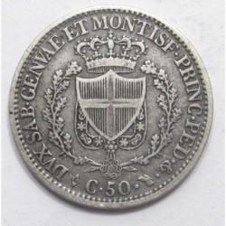 50 centesimi 1828 - Sardinia
