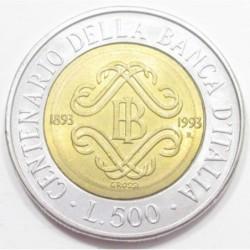 500 lire 1993 - Bank of Italy centennial