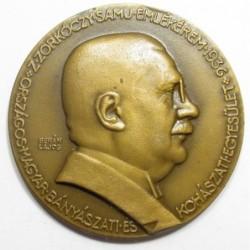 Lajos Berán: Award medal of the Hungarian Mining and Metallurgical Association 1936 - for Aladár Haán