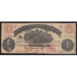 1 dollar 1862 - Virginia Tresasury Note Richmond