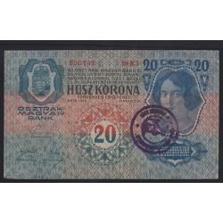 20 korona 1919 - Bács-Bodrog vármegye felülbélyegzéssel