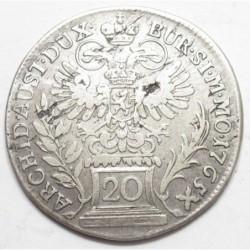 Maria Theresia 20 kreuzer 1765 - Praque