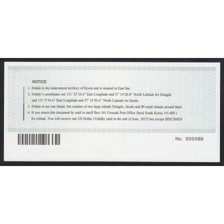 1 dollar 2012 - Dokdo Islands