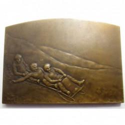 Lucien Coudray: Art nouvea bronze plaque - Winter sports