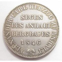 Alexander Carl von Anhalt-Bernburg prince thaler 1846 A