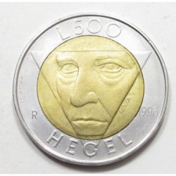500 lire 1996 - The philosopher Friedrich Hegel