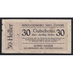 30 heller 1920 - Herzogenburg - Alfred Hauser Buchbinderei und Papierhandlung